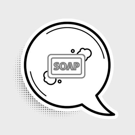 Line Bar of soap with foam icon isolated on grey background. Soap bar with bubbles. Colorful outline concept. Vector