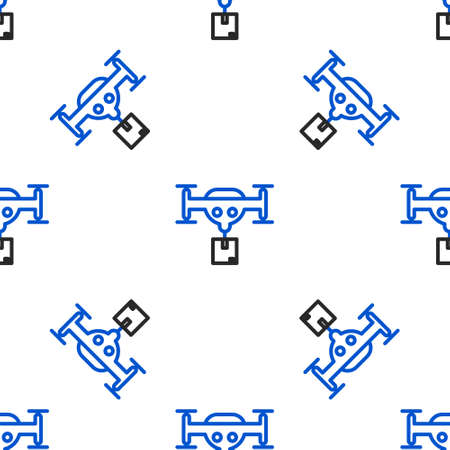 Line Delivery drone with the package icon isolated seamless pattern on white background. Drone delivering cardboard box. Colorful outline concept. Vector