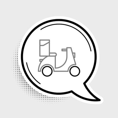 Line Scooter delivery icon isolated on grey background. Delivery service concept. Colorful outline concept. Vector  イラスト・ベクター素材