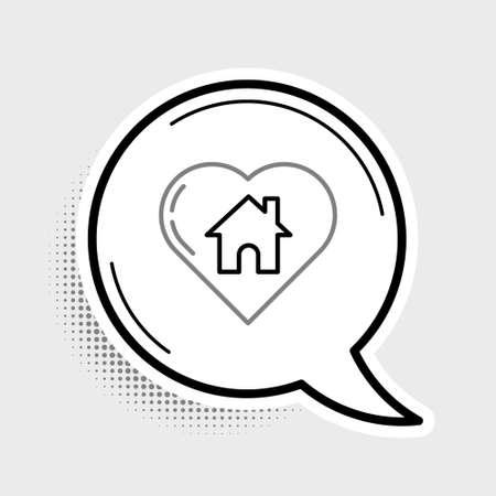 Line House with heart shape icon isolated on grey background. Love home symbol. Family, real estate and realty. Colorful outline concept. Vector