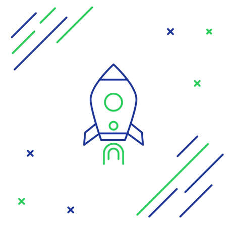 Line Rocket ship with fire icon isolated on white background. Space travel. Colorful outline concept. Vector