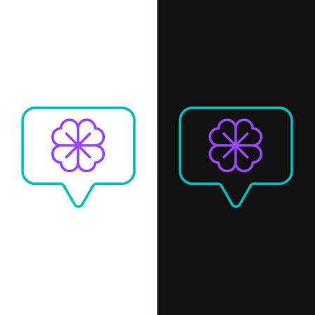 Line Four leaf clover in speech bubble icon isolated on white and black background. Happy Saint Patrick day. Colorful outline concept. Vector  イラスト・ベクター素材