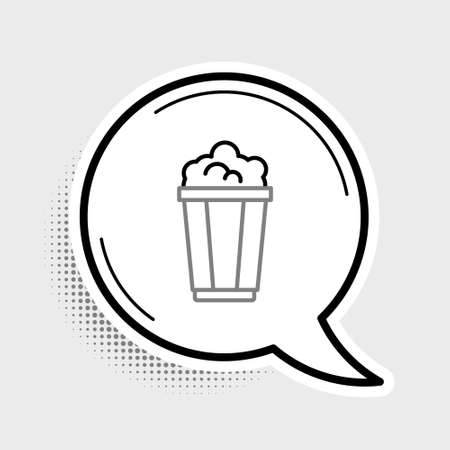 Line Popcorn in cardboard box icon isolated on grey background. Popcorn bucket box. Colorful outline concept. Vector