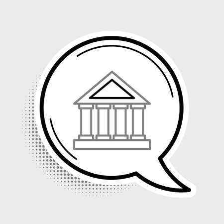 Line Courthouse building icon isolated on grey background. Building bank or museum. Colorful outline concept. Vector  イラスト・ベクター素材