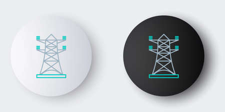 Line Electric tower used to support an overhead power line icon isolated on grey background. High voltage power pole line. Colorful outline concept. Vector 向量圖像