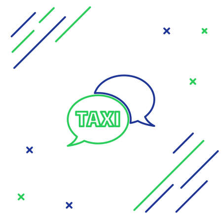 Line Taxi call telephone service icon isolated on white background. Speech bubble symbol. Taxi for smartphone. Colorful outline concept. Vector