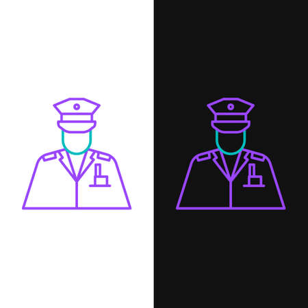 Line Police officer icon isolated on white and black background. Colorful outline concept. Vector