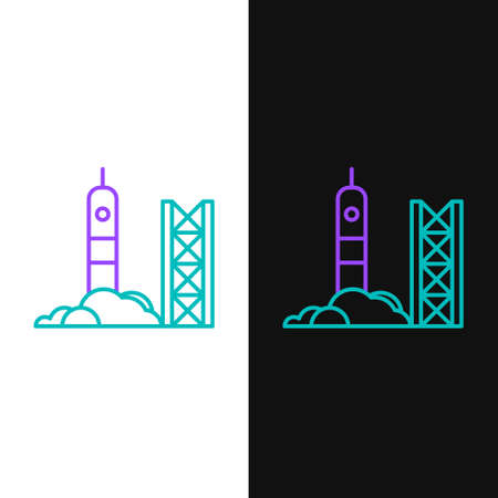 Line Rocket launch from the spaceport icon isolated on white and black background. Launch rocket in space. Colorful outline concept. Vector