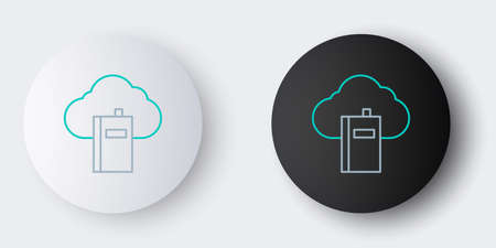 Line Cloud or online library icon isolated on grey background. Internet education or distance training. Colorful outline concept. Vector