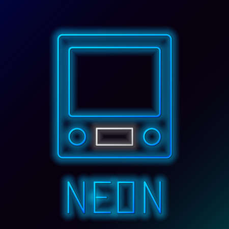 Glowing neon line Electronic scales icon isolated on black background. Weight measure equipment. Colorful outline concept. Vector Reklamní fotografie - 151440451
