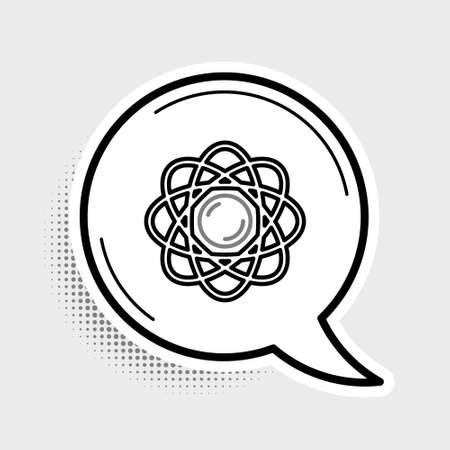 Line Atom icon isolated on grey background. Symbol of science, education, nuclear physics, scientific research. Colorful outline concept. Vector