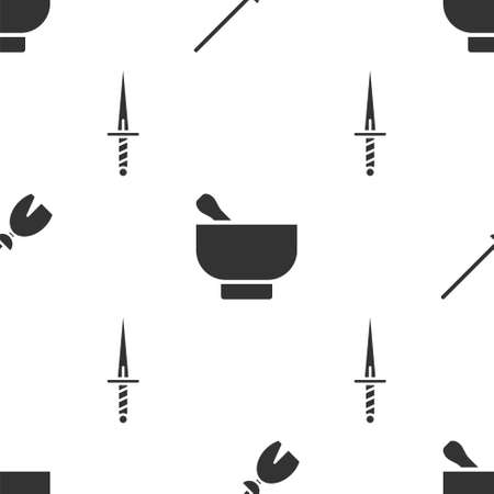 Set Witches broom, Magic mortar and pestle and Dagger on seamless pattern. Vector 向量圖像