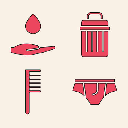 Set Underwear, Washing hands with soap, Trash can and Hairbrush icon. Vector