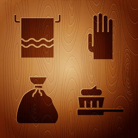 Set Toothbrush with toothpaste, Towel on a hanger, Garbage bag and Rubber gloves on wooden background. Vector