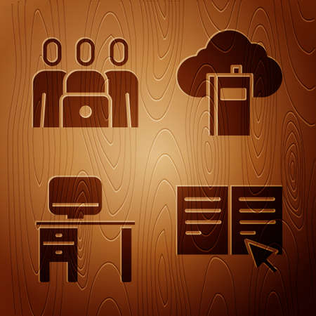 Set Online book, Online class, Computer monitor and desk and Cloud or online library on wooden background. Vector Vectores