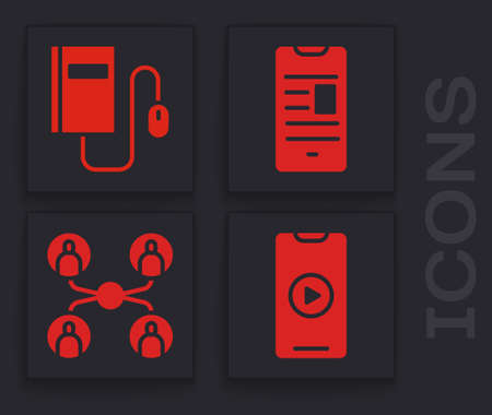 Set Online play video, Electronic book with mouse, Online book on mobile and Online class icon. Vector Vectores