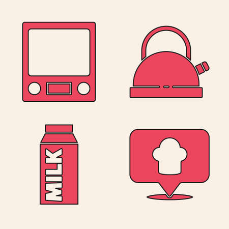 Set Chef hat with location, Electronic scales, Kettle with handle and Paper package for milk icon. Vector