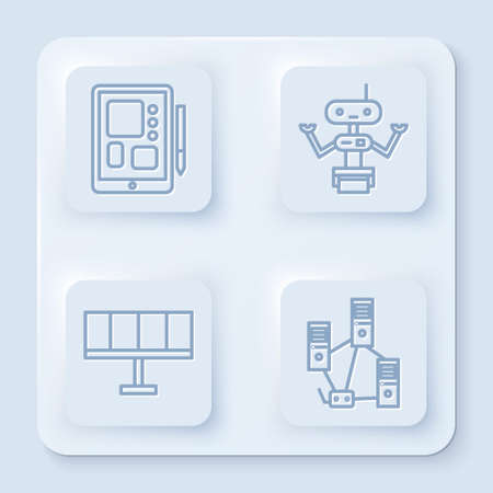 Set line Graphic tablet, Robot, Solar energy panel and Computer network. White square button. Vector