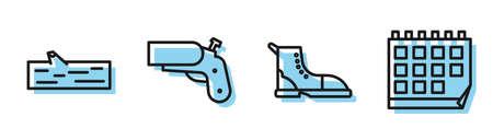 Set line Hiking boot, Wooden log, Flare gun pistol and Calendar icon. Vector