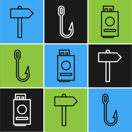 Set line Road traffic signpost, Passport with ticket and Fishing hook icon. Vector 일러스트