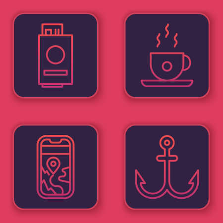 Set line Passport with ticket, City map navigation, Coffee cup and Anchor. Blue square button. Vector