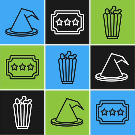 Set line Witch hat, Popcorn in box and Ticket icon. Vector Illusztráció