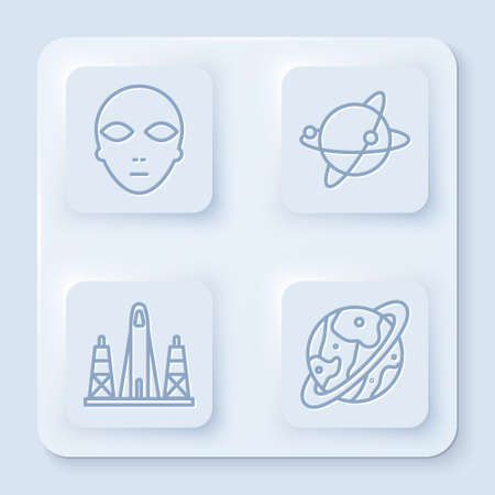 Set line Alien, Satellites orbiting the planet Earth, Rocket launch from the spaceport and Space capsule and parachute. White square button. Vector