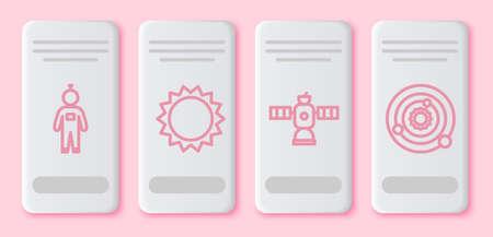 Set line Astronaut, Sun, Satellite and Solar system. White rectangle button. Vector Ilustrace