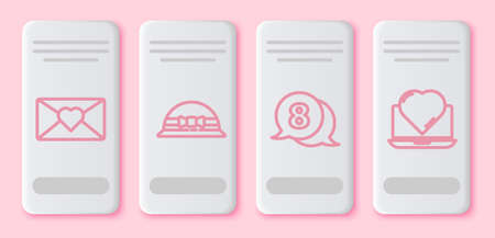Set line Envelope with 8 March, Elegant women hat, 8 March in speech bubble and Online dating app and chat. White rectangle button. Vector