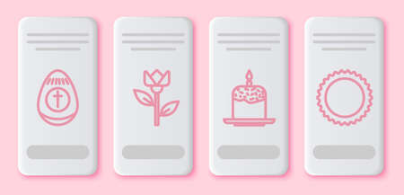 Set line Easter egg, Flower tulip, Easter cake and candle and Sun. White rectangle button. Vector Ilustrace