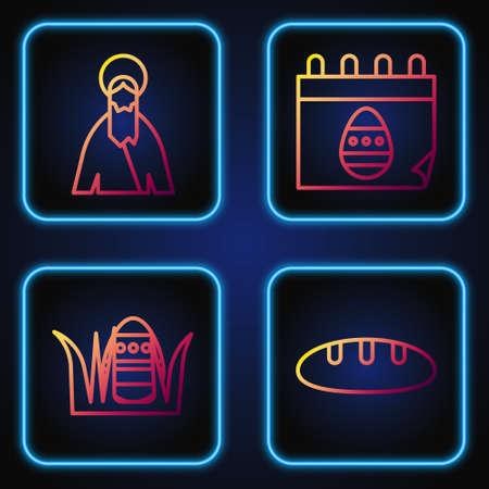 Set line Bread loaf, Easter egg, Jesus Christ and Calendar with Easter egg. Gradient color icons. Vector Ilustração