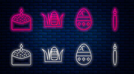 Set line Easter egg, Cracked egg, Easter cake and candle and Paint brush. Glowing neon icon on brick wall. Vector Ilustração