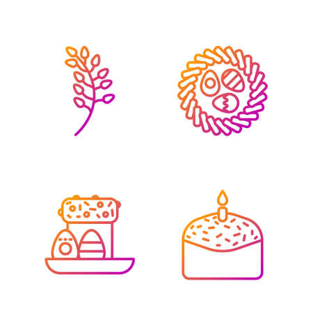 Set line Easter cake and candle, Easter cake and eggs, Willow leaf and Easter egg in a wicker nest. Gradient color icons. Vector