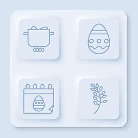 Set line Egg in hot pot, Easter egg, Calendar with Easter egg and Willow leaf. White square button. Vector Ilustração
