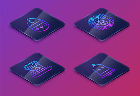 Set Isometric line Cracked egg, Easter cake and eggs, Easter egg in a wicker nest and Ringing bell. Blue square button. Vector