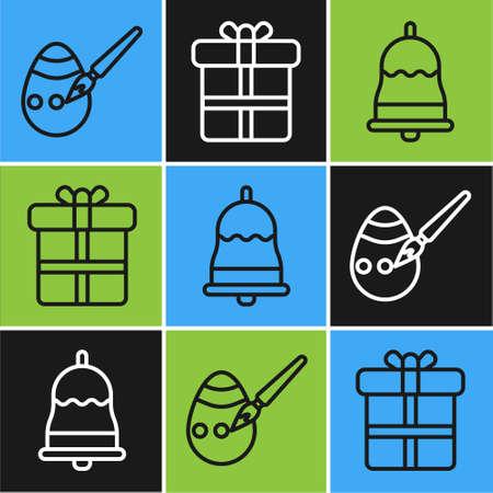 Set line Easter egg and paint brush, Ringing bell and Gift box icon. Vector Ilustração