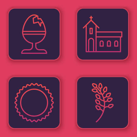 Set line Chicken egg on a stand, Sun, Church building and Willow leaf. Blue square button. Vector