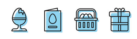 Set line Basket with easter eggs, Chicken egg on a stand, Greeting card with Happy Easter and Gift box icon. Vector