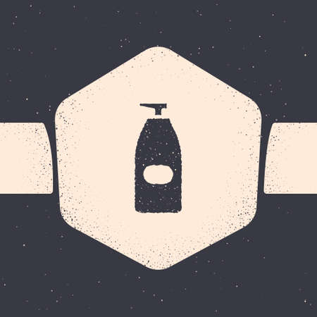 Grunge Bottle of liquid antibacterial soap with dispenser icon isolated on grey background. Antiseptic. Disinfection, hygiene, skin care. Monochrome vintage drawing. Vector Illustration 向量圖像