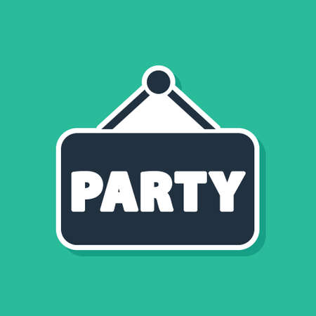Blue Signboard party icon isolated on green background. Vector