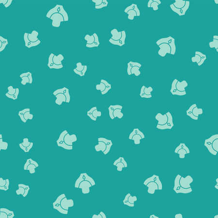 Green Necklace on mannequin icon isolated seamless pattern on green background. Vector Illustration