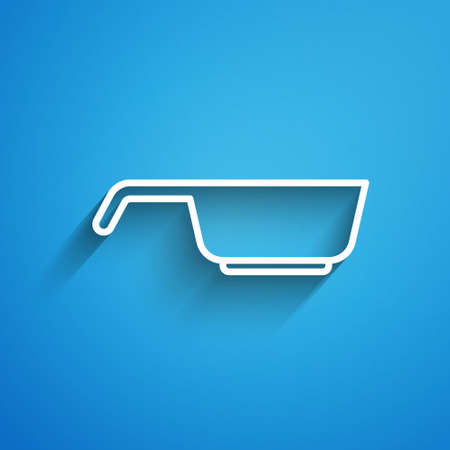 White line Frying pan icon isolated on blue background. Fry or roast food symbol. Long shadow. Vector