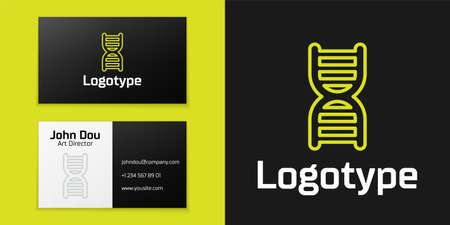 Logotype line DNA symbol icon isolated on black background. Logo design template element. Vector
