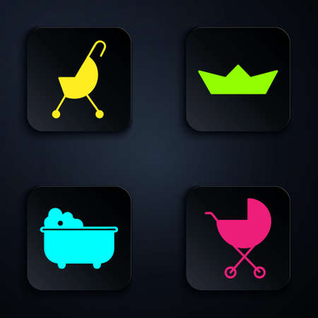 Set Baby stroller, Baby stroller, Baby bathtub and Folded paper boat. Black square button. Vector Ilustrace