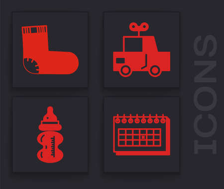 Set Calendar, Baby socks clothes, Toy car and Baby bottle icon. Vector