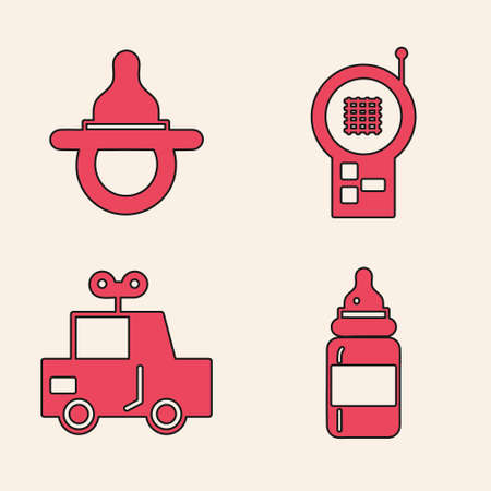 Set Baby bottle, Baby dummy pacifier, Baby Monitor Walkie Talkie and Toy car icon. Vector Ilustrace