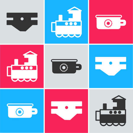 Set Baby absorbent diaper, Toy train and Baby potty icon. Vector