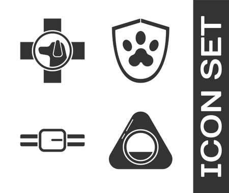 Set Pet bed, Veterinary clinic symbol, Collar with name tag and Animal health insurance icon. Vector Illustration