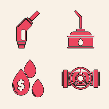 Set Industry metallic pipes and valve, Gasoline pump nozzle, Canister for motor machine oil and Oil drop with dollar symbol icon. Vector