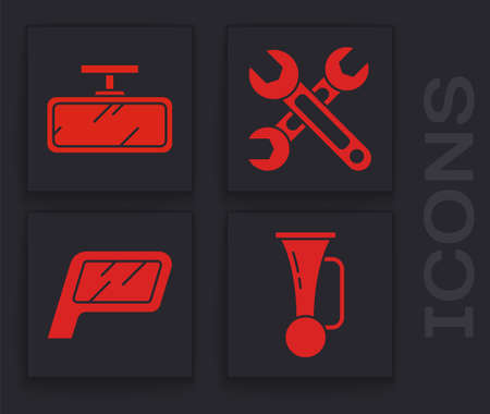 Set Signal horn on vehicle, Car mirror, Wrench and Car mirror icon. Vector
